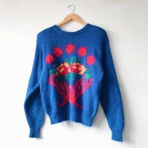 80s Cobalt Mohair Pullover